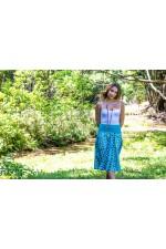 Gita Cotton Voile A line Skirt – Turquoise Ikat Print