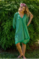 Libby Cotton Voile Poncho - Spanish Green Print