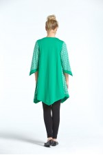 Reina Cotton Poncho in Green Hanakhoushi Print