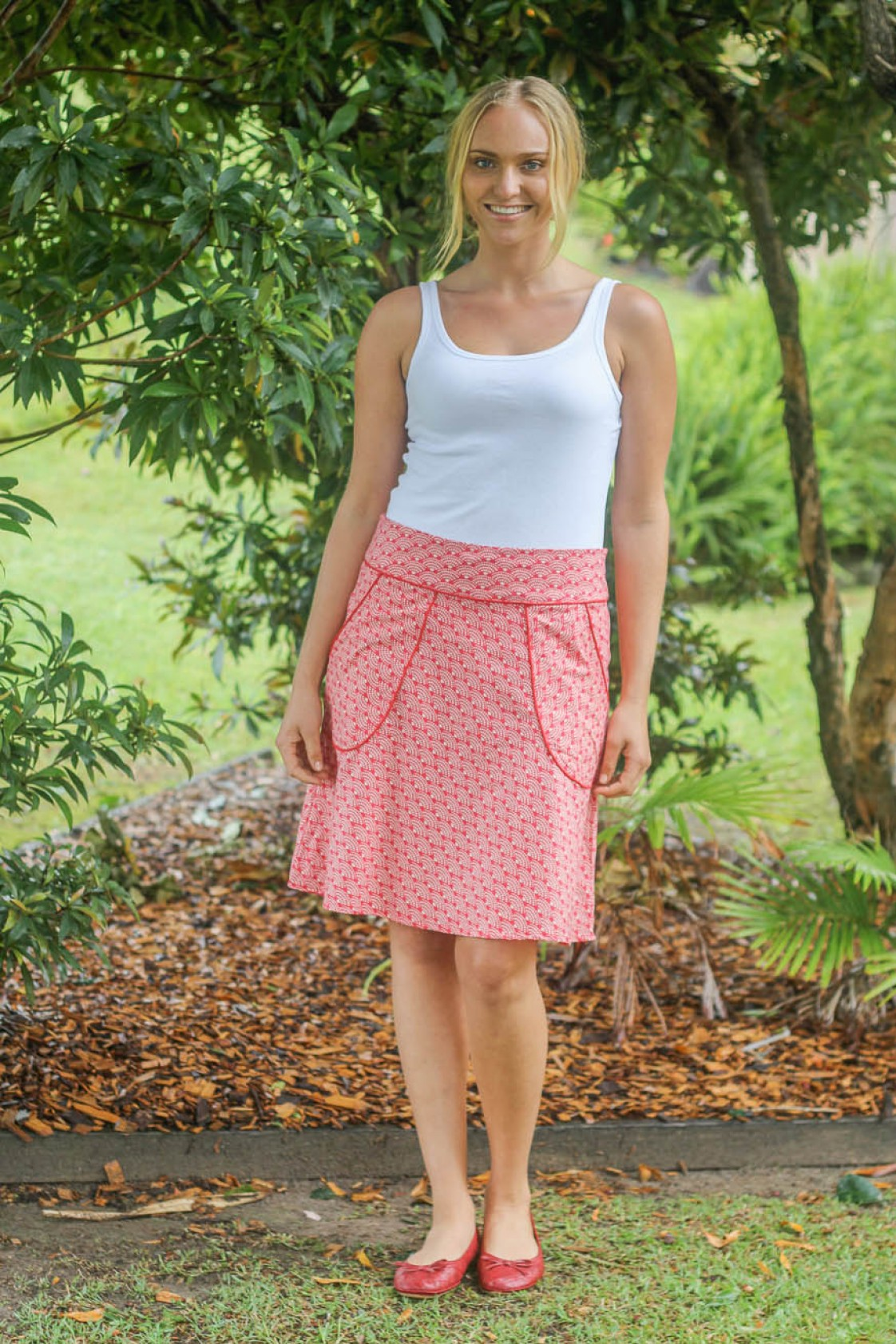 Melissa A Line Cotton Skirt - Red Fan Print