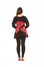 Izumi L/S Cotton Tunic - Black Red Kiku Kara Print