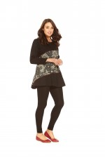 Izumi L/S Cotton Tunic - Black Cream Kiku Kara Print