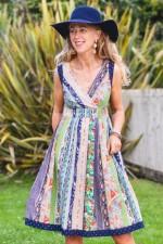 Paloma Cotton 50's 2 prints Dress - Palais Print + Navy Spot