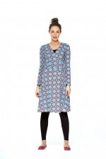 Sunburst  L/S Wrap Dress- Earth Print
