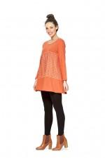Umi Long Sleeve Cotton Tunic - Orange -Shippo  Print