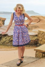 Paloma Cotton 50's 2 print Dress - Sakura + Navy Spot Prints