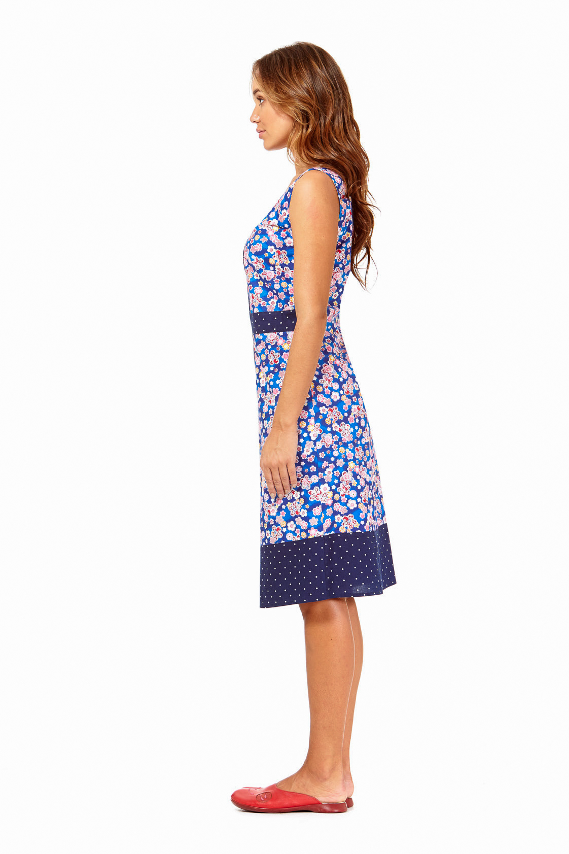 d4eadeb1 Ava Cotton Shift Dress in Sakura and Navy spot Prints