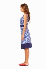 Ava Cotton Shift Dress in Sakura and Navy spot Prints