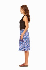 Trudie A line Cotton Skirt - Sakura and Navy Spot  Prints