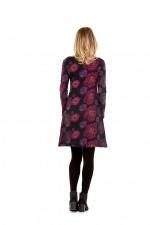 Poppy L/S Stretch Cotton  Tunic - Rose  Print