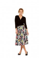 Jessica Cotton Skirt with Pockets - Nikko Print