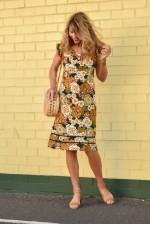 Cassy Cotton Braid Dress - Klimt Print