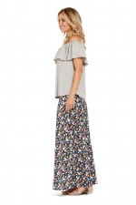 Sasha Maxi Skirt -  Kanji  Print