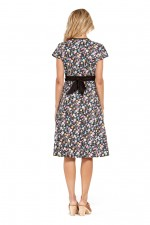 Leela Cotton Wrap Dress - Kanji Print