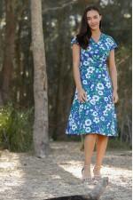 Astrid Cotton Wrap Dress - Bouquet Print