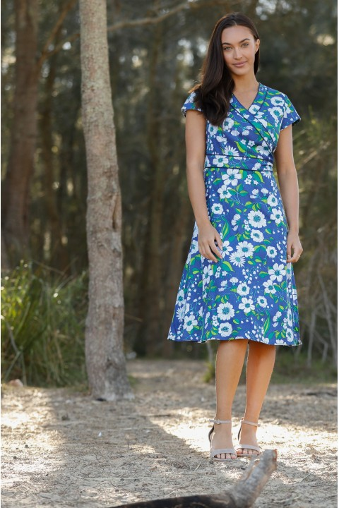 Astrid Cotton Wrap Dress - Bouquet Print
