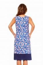 Ava Cotton Shift Dress in Sakura and Navy spot Prints