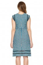 Cassy Cotton Braid Dress - Blue Daisy Print