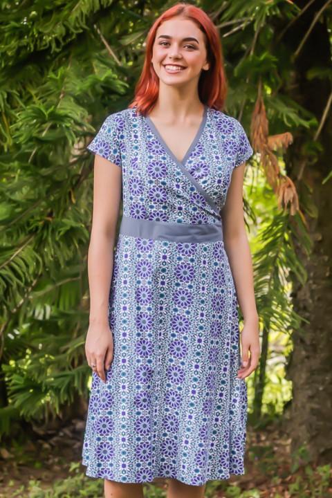 Leela Cotton Wrap Dress - Santorini Print