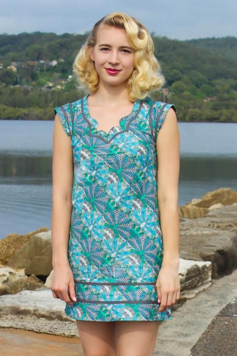 Cassy Cotton Braid Dress - SHORT - Dragonfly Print