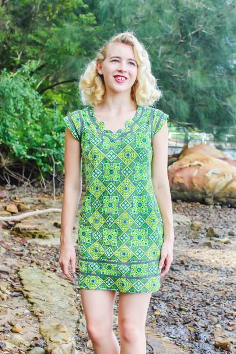 Cassy Cotton Braid Dress - SHORT - Lime Paisley Print