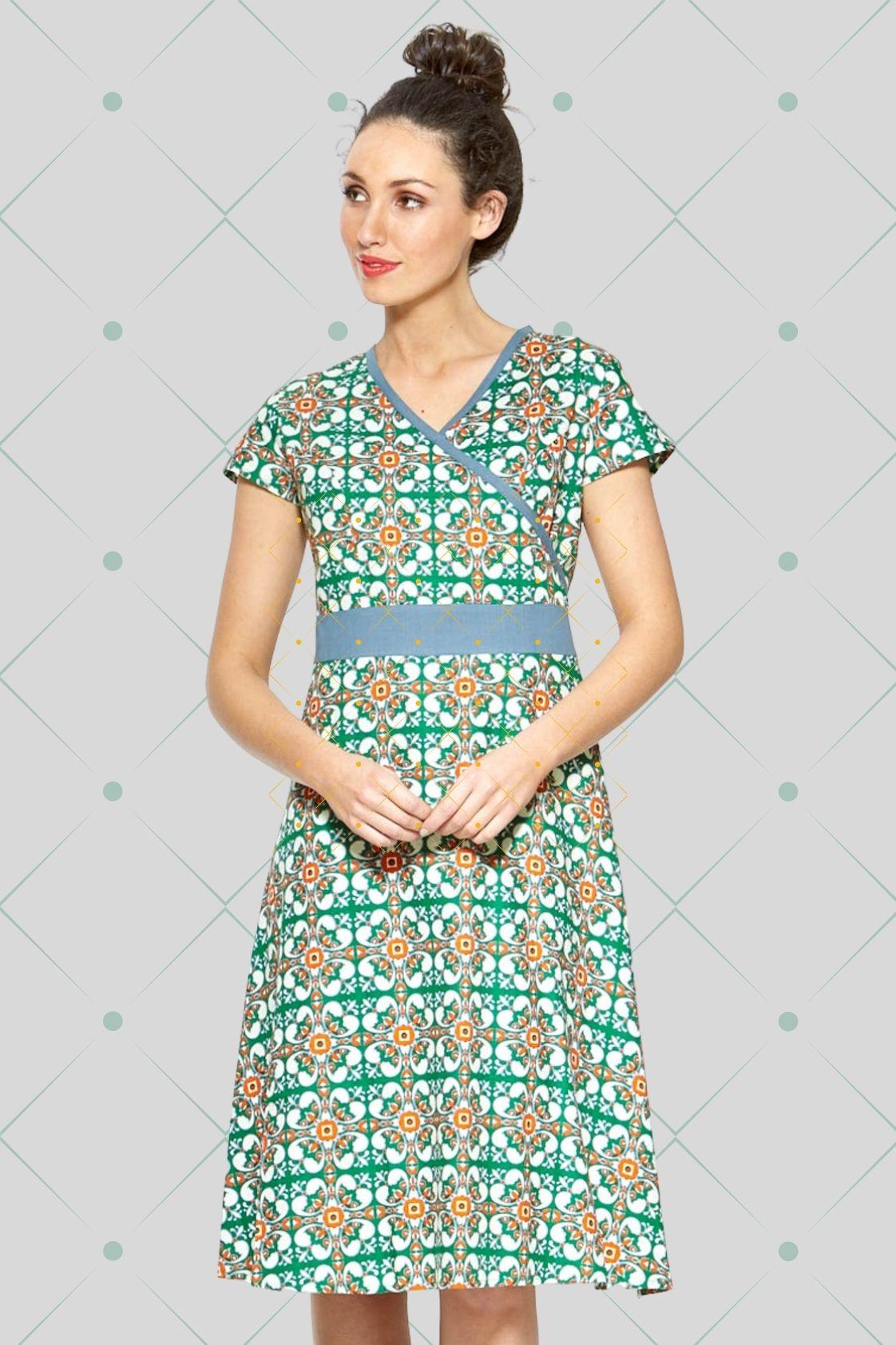 Leela Cotton Wrap Dress - Capri Print