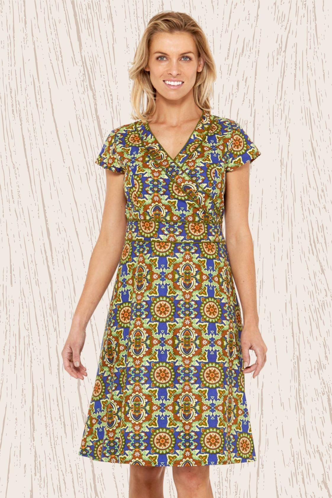 Astrid Cotton Wrap Dress - Thea Print