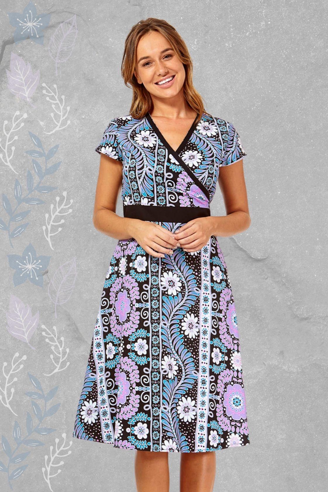 Leela Cotton Wrap Dress - Quant Print
