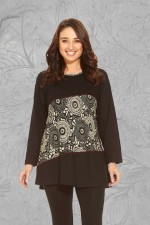 Izumi L/S Cotton Tunic - Black Cream Kiku Kara Print