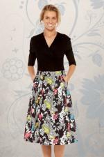 Jessica Cotton Skirt with Pockets - Nikko Print