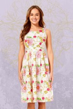 Jude Cotton 50's A Line Dress - Petal Print