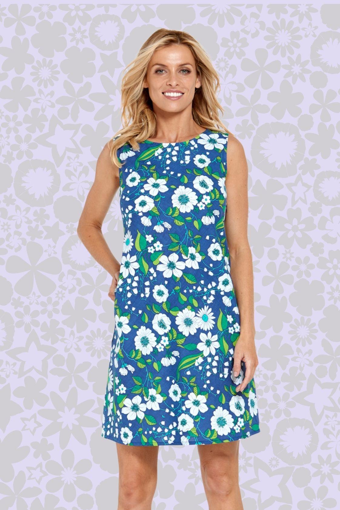 Kayla Cotton Shift Dress - Bouquet Print