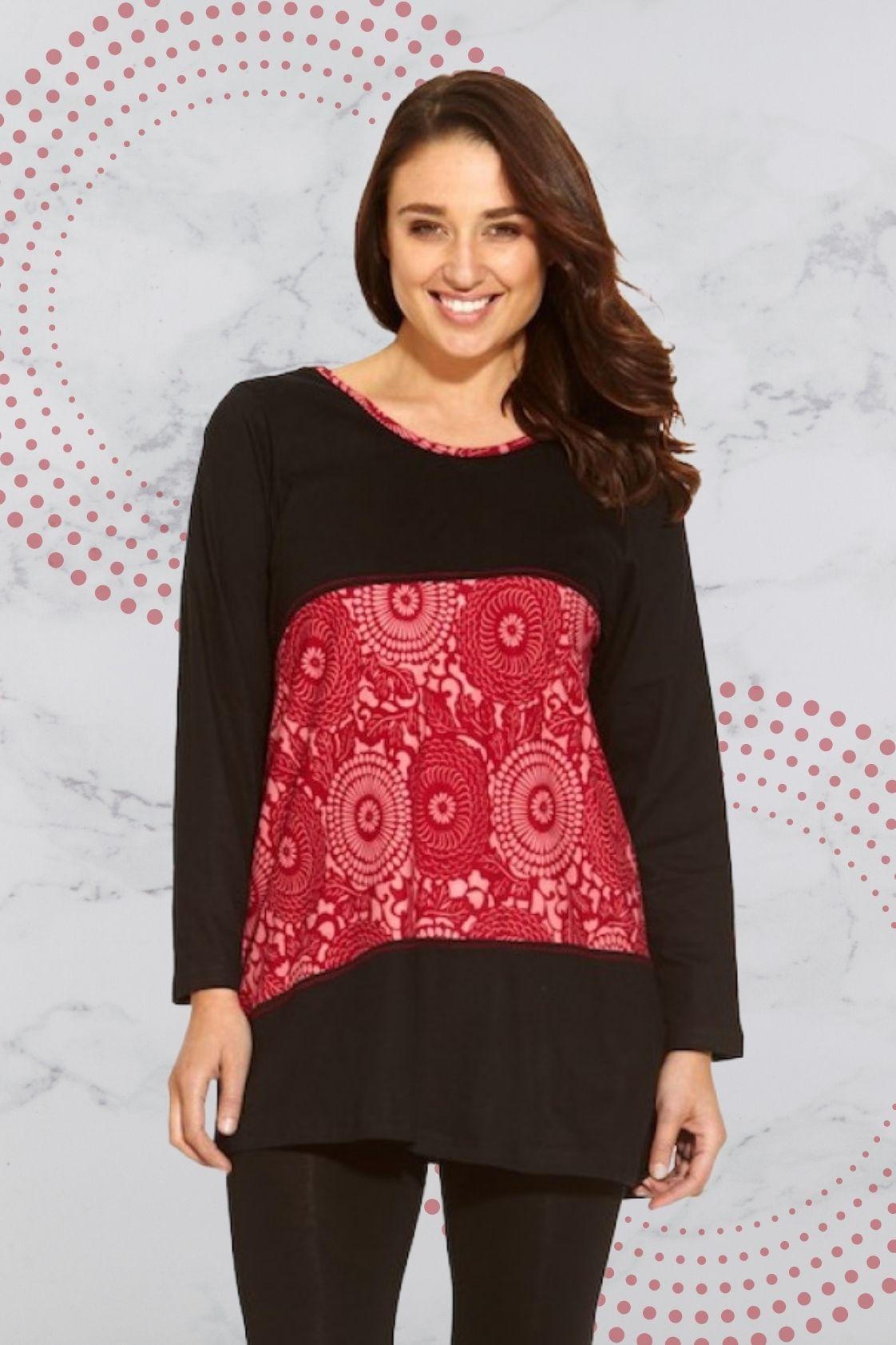 Izumi L/S Cotton Tunic - Black Red Kiku Kara Print