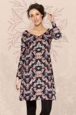 Poppy L/S Stretch Cotton  Tunic - Fuji  Print