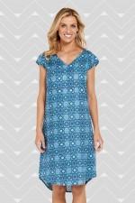 Mila Tunic Dress - Blue Matrix Print
