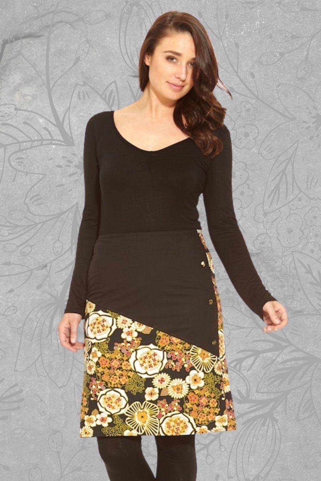 Nadia  A line Cotton Skirt - Plain Black and Klimt Print