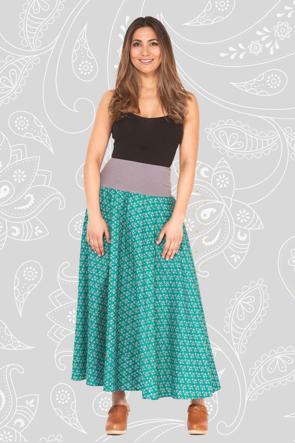 Nicole Long Cotton Voile Skirt - Creation Print