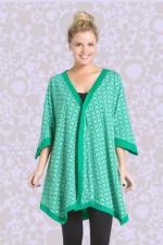 Reina Cotton Poncho in Green Hanakhoushi Print