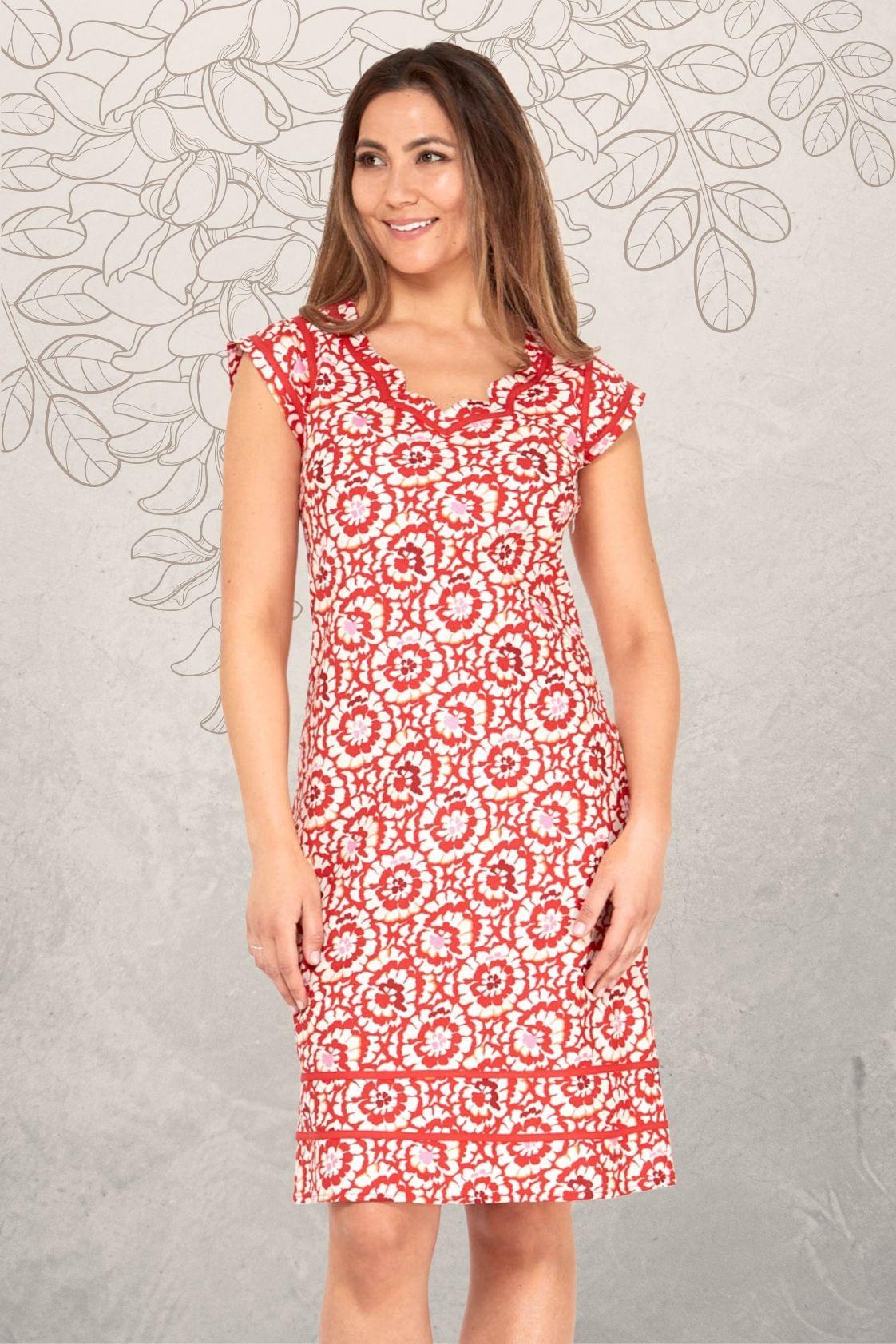 Cassy Cotton Braid Dress - Bloom Print