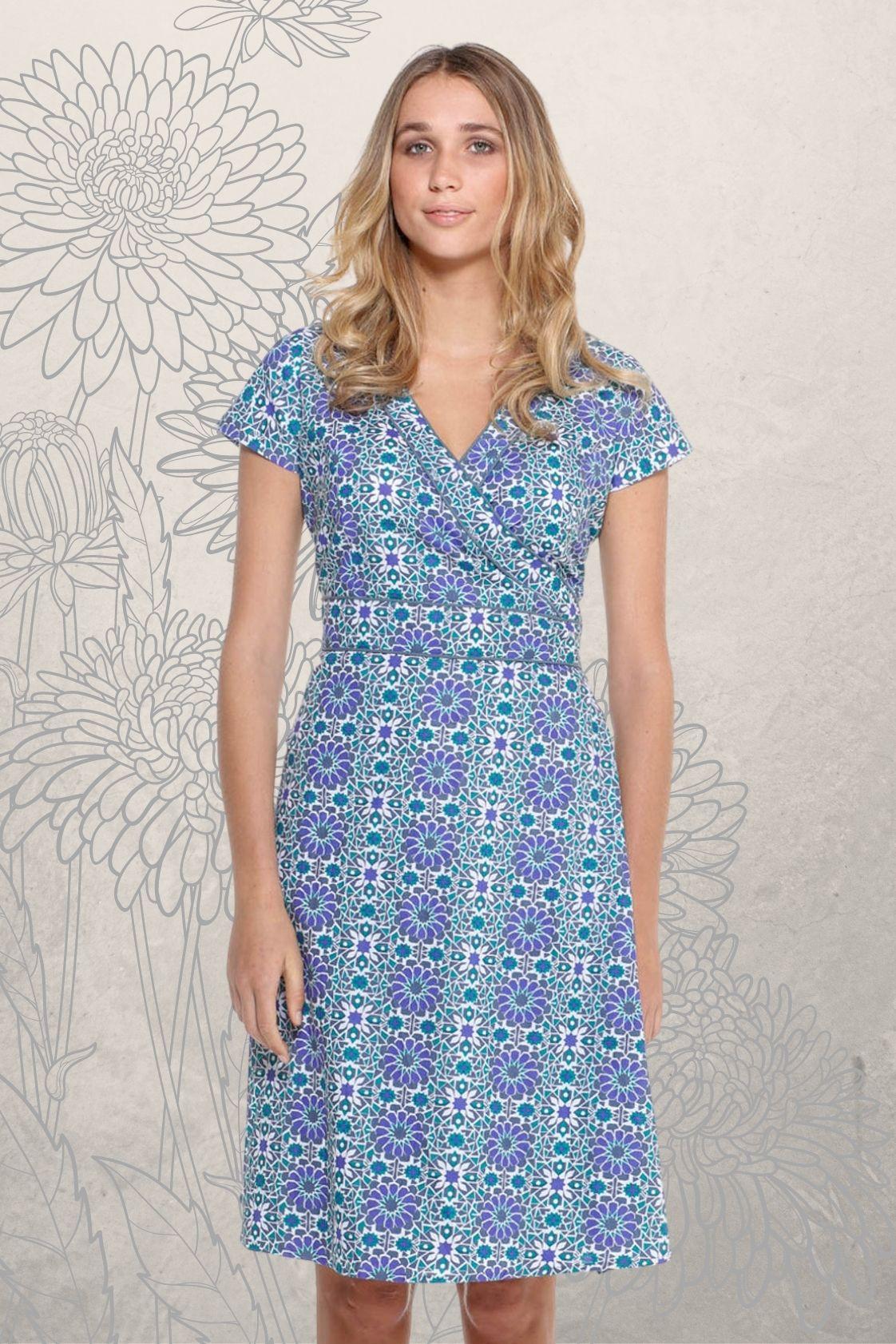 Astrid Cotton Wrap Dress - Santorini Print