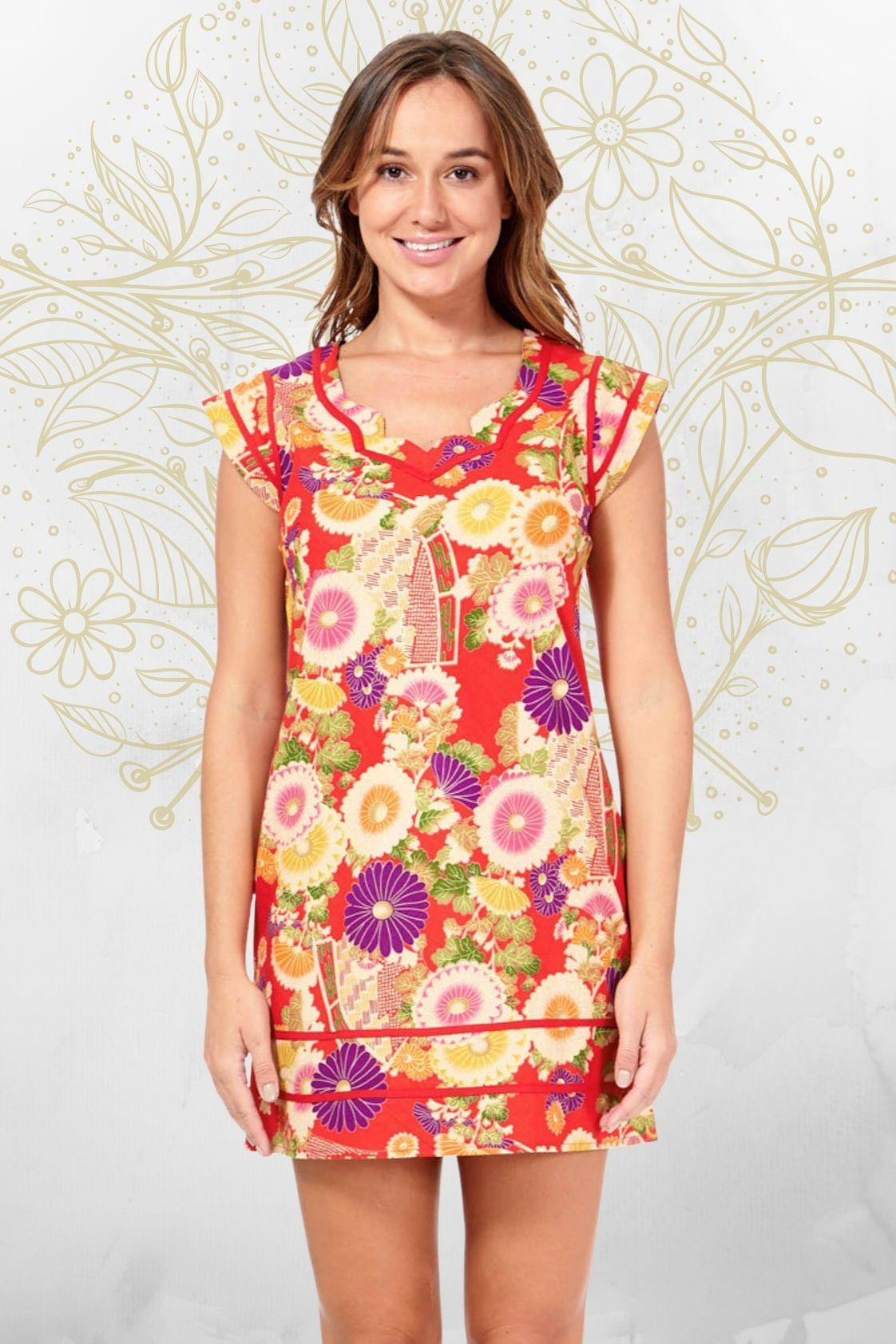 Cassy Cotton Braid Dress - SHORT - Geisha Print