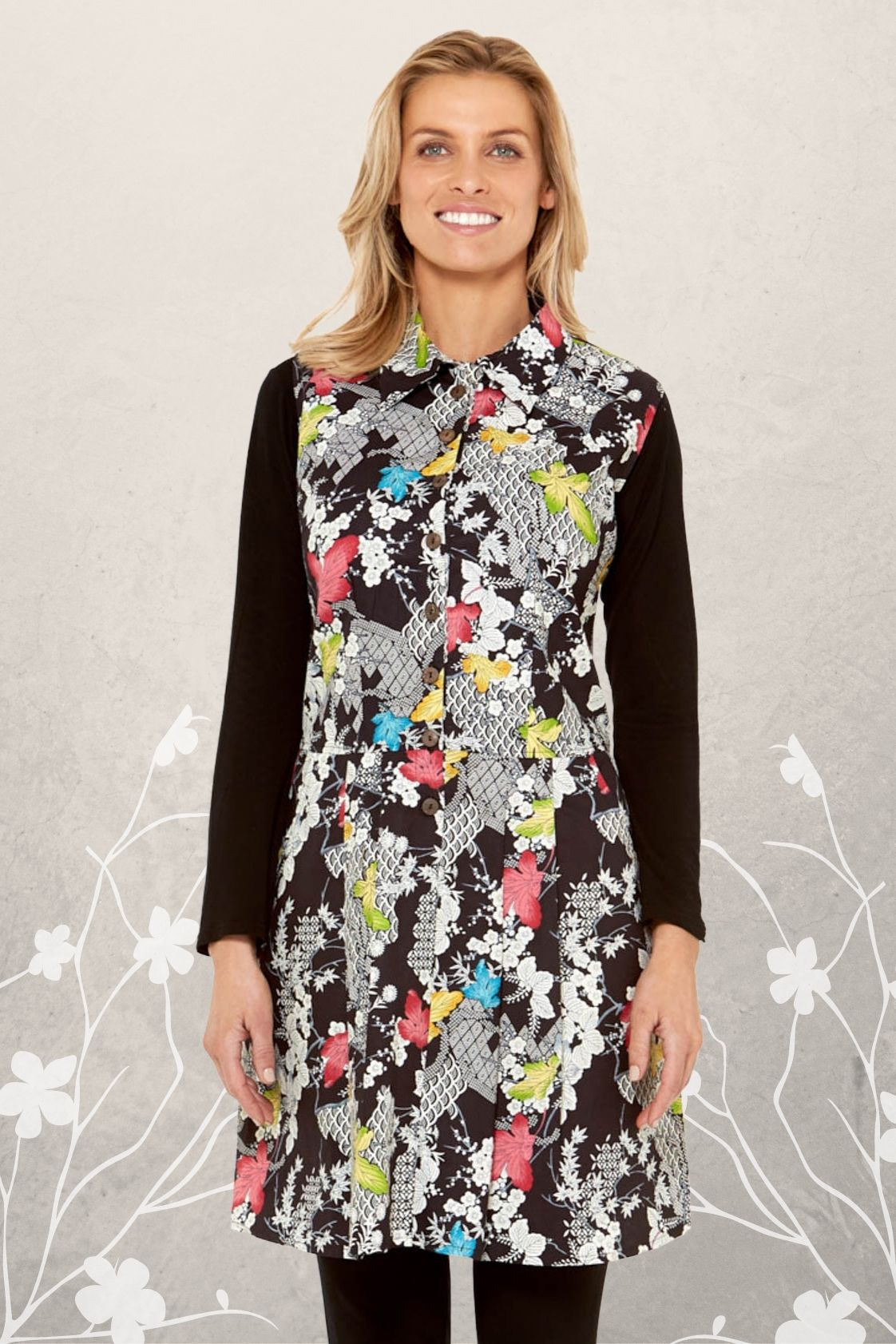 Molly Cotton Pleated Tunic with pockets - Nikko Print