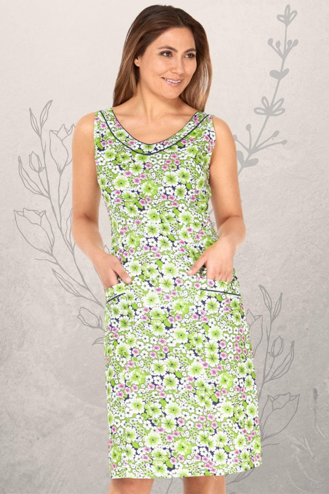 Betty Dress with pockets - Meadow Print