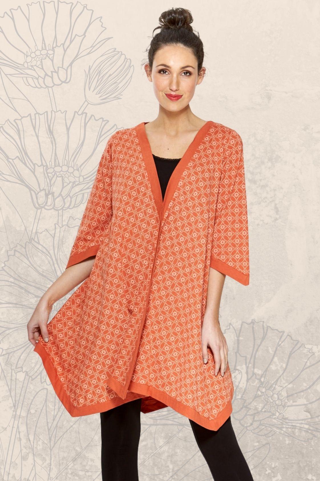 Tami Cotton Poncho in Orange shippo  Print