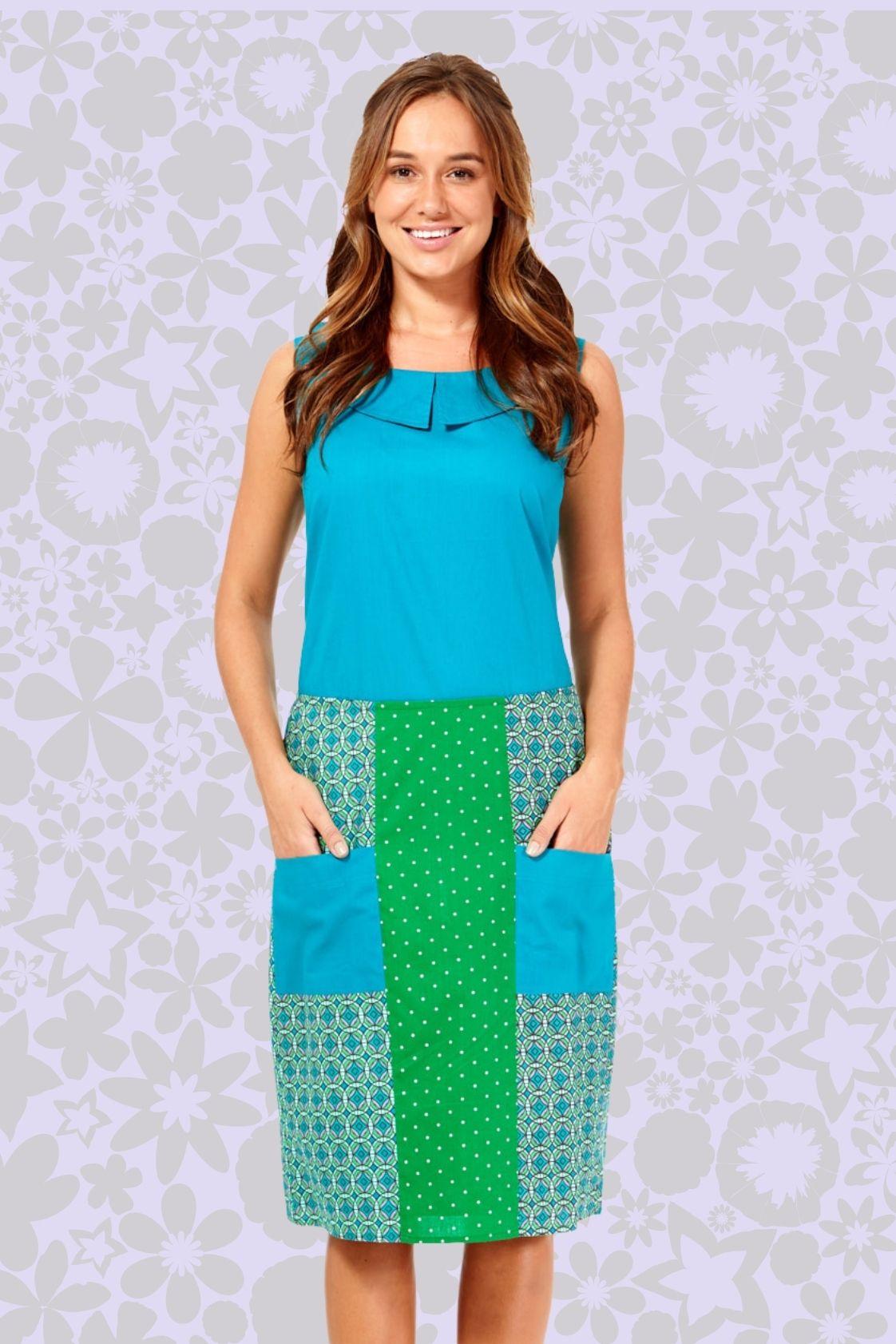 Tess A line Cotton Skirt - Green Chakra and Green Spot  Prints