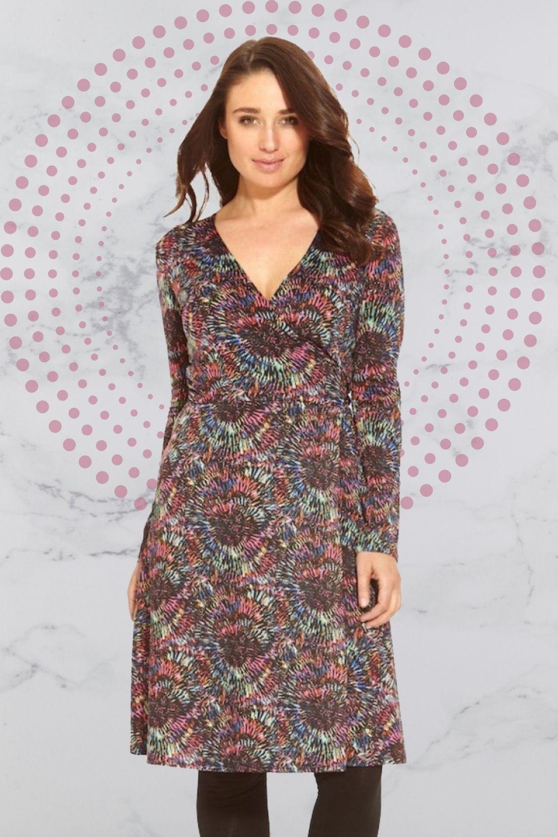 Sunburst L/S Wrap Dress - Sunburst Print