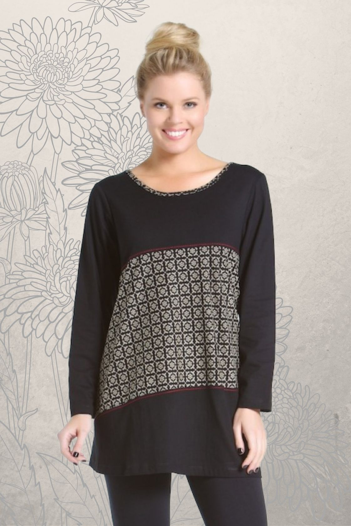 Yuni Long Sleeve Cotton Tunic - Black Hanakhoushi  Print