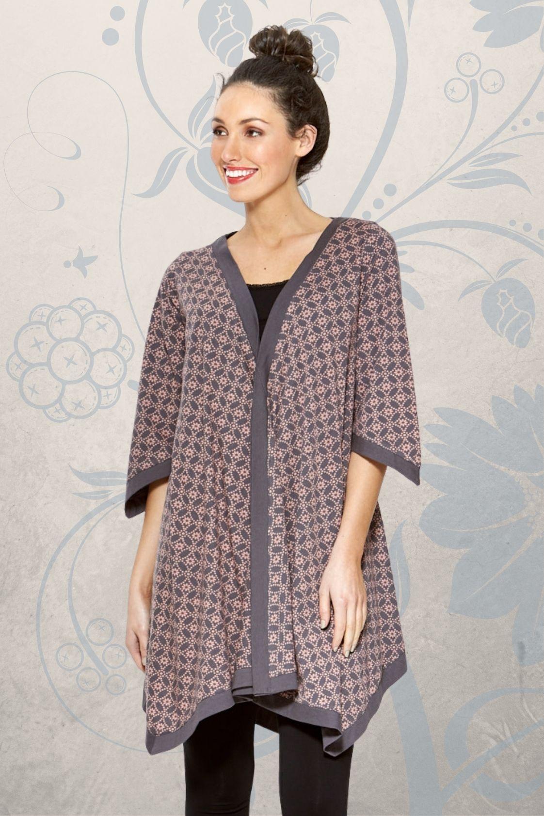 Tami Cotton Poncho in Lilac shippo  Print