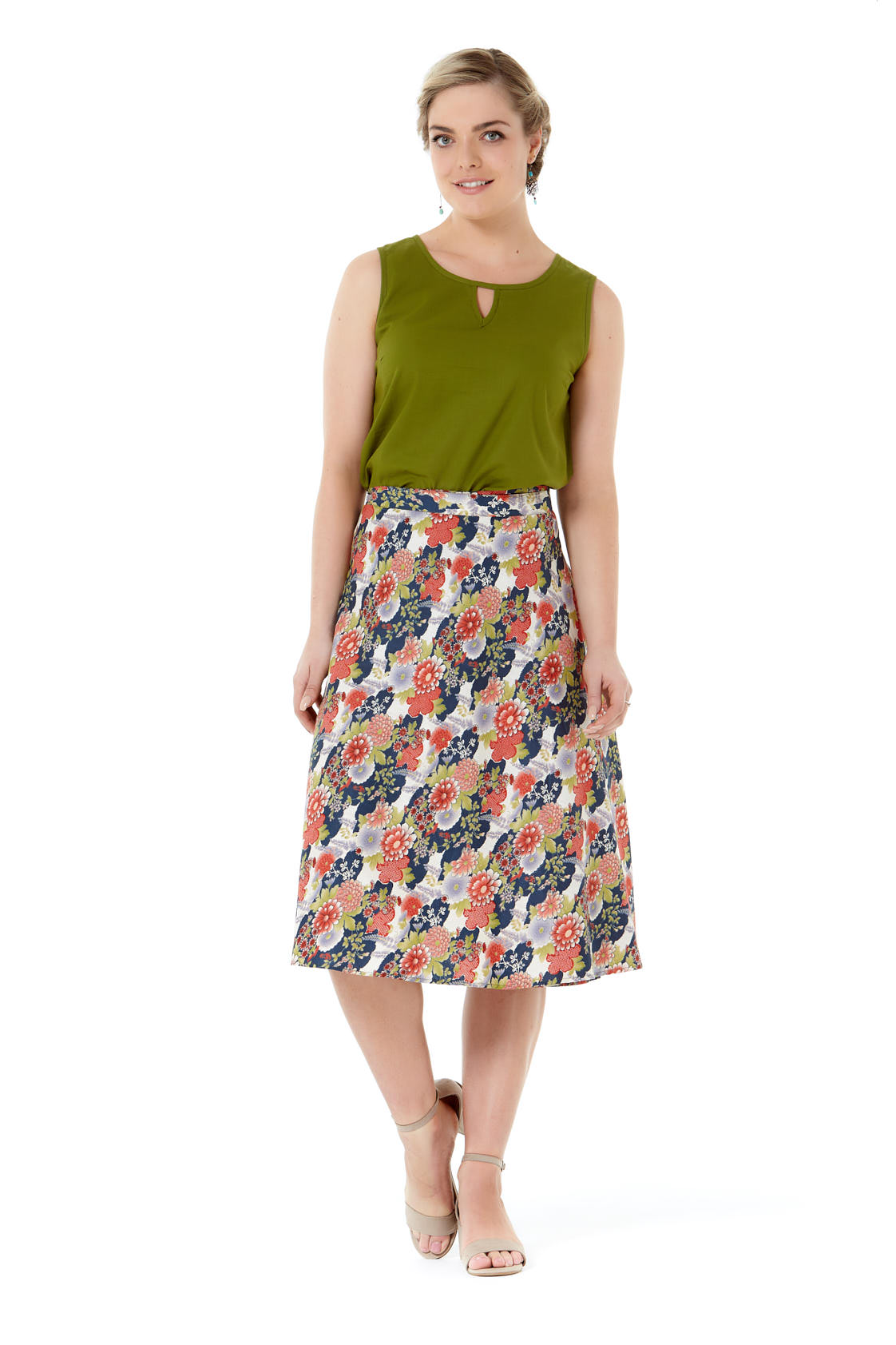 Beth Cotton Wrap Skirt – Japanese Meadow Print