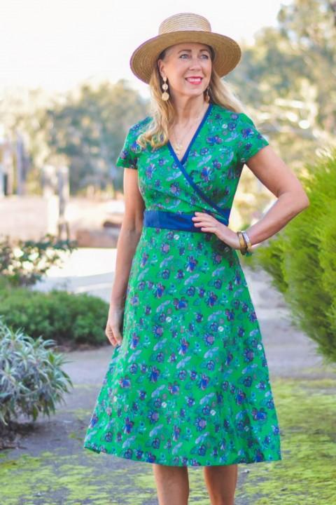 Leela Cotton Wrap Dress - Jardin Print